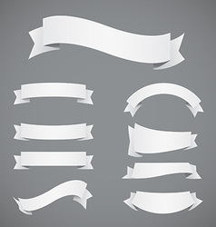 Set of white paper ribbons vector