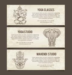 Set of yoga symbols Horizontal bannersIndian vector image