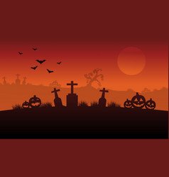 Silhouette of pumpkin and grave halloween vector