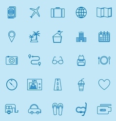 Trip line color icons on blue background vector