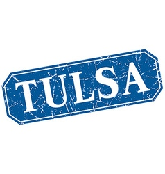 Tulsa blue square grunge retro style sign vector
