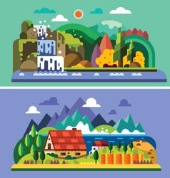 Village landscape vector image vector image