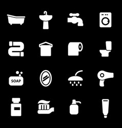 White bathroom icons set vector