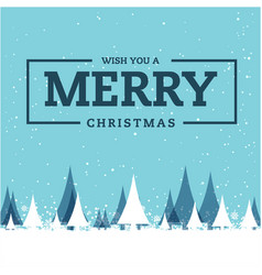Wish you a merry christmas snow pine blue backgrou vector
