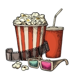 Popcorn cup for beverages with straw film strip vector