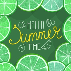 Hello summer time with fruits vector