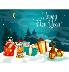 New year gift boxes on white snow vector