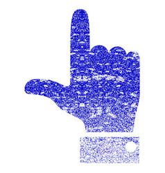 Hand pointer up grunge textured icon vector