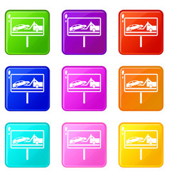 No parking sign icons 9 set vector
