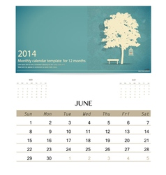 2014 calendar monthly calendar template for june vector