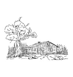 old hut vector image