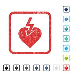 Heart shock strike icon rubber watermark vector