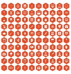 100 lab icons hexagon orange vector