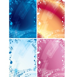 Abstract music backgrounds - set of frames vector