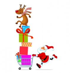 santa with a bag and gifts vector image
