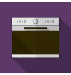 Gray stove flat icon vector