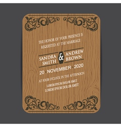 Wooden wedding card vector
