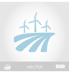 Windmill on the field icon vector