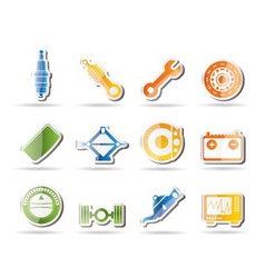 realistic car parts and services icons - vector image