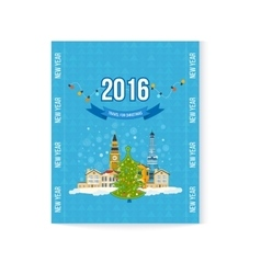 Travel to europe for winter merry christmas vector