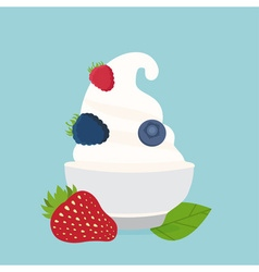 Frozen yogurt in the cup with berries design vector
