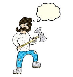 Cartoon man with axe with thought bubble vector