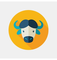 Buffalo bison ox flat icon animal head vector