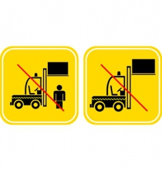 Forklift prohibited sign vector