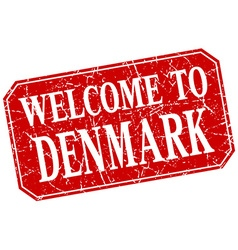 Welcome to denmark red square grunge stamp vector