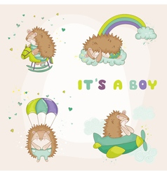 Baby hedgehog set - for baby shower vector