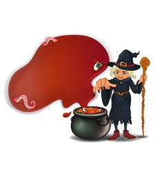 A witch holding a stick with a pot vector image vector image