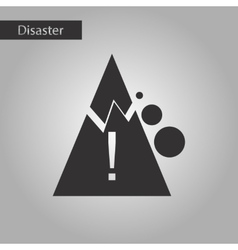 Black and white style icon mountain stones fall vector
