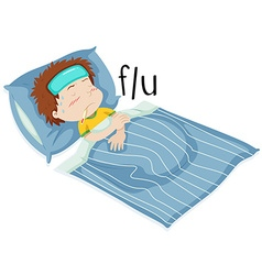 Boy in bed having flue vector image