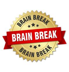 Brain break round isolated gold badge vector