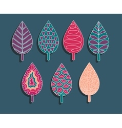 Colorful ornament elements set of leaves vector