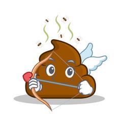Cupid poop emoticon character cartoon vector