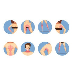 Depilation zones man woman icons set vector