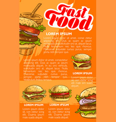 fast food burger and drink menu banner template vector image