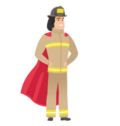 Firefighter wearing a red superhero cloak vector