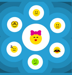 Flat icon emoji set of caress frown cheerful and vector