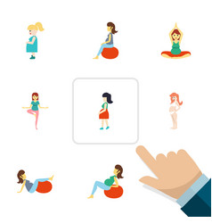 flat icon pregnant set of pose sport fitness and vector image vector image