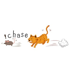 Ginger cat chasing a mouse vector