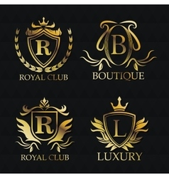 Gold emblem icon set design vector