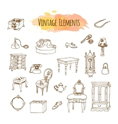 Hand drawn vintage elements antique furniture vector