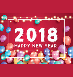 Happy new year 2018 greeting card with flying vector