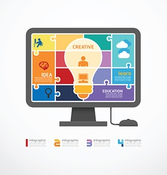 infographic Template computer jigsaw banner vector image vector image