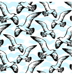 ink hand drawn seamless pattern with seagulls vector image vector image