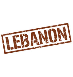 Lebanon brown square stamp vector