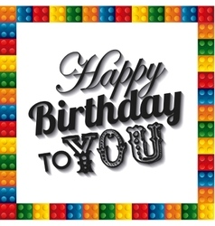 Lego frame icon happy birthday design vector
