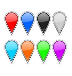 Location pins colored icons set with chrome frame vector